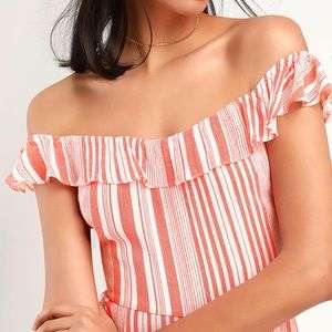 NWT Lulus Striped Off-the-Shoulder Jumpsuit